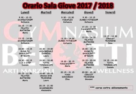 Orario Sala Giove 2017 - 2018