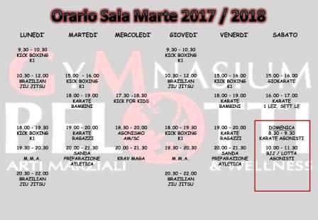 Orario Sala Marte 2017 - 2018