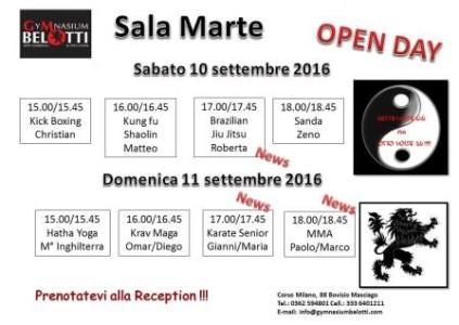 Orario Open Day 2016   Sala Marte