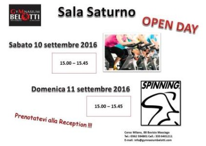 Orario Open Day 2016  Sala Saturno